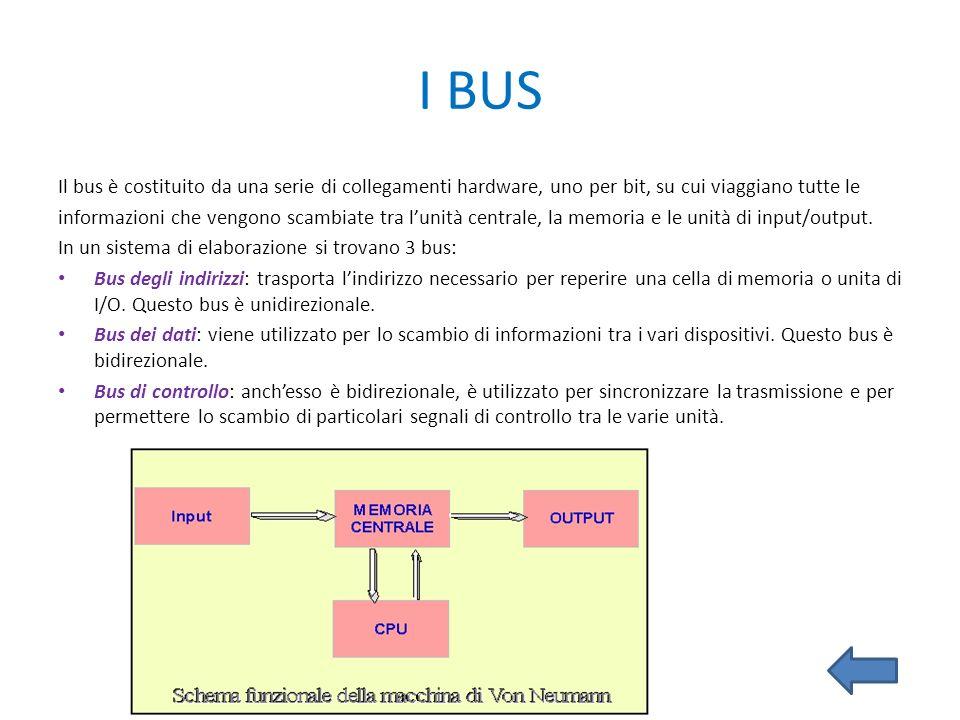 I BUS Il bus è costituito da una serie di collegamenti hardware, uno per bit, su cui viaggiano tutte le informazioni che vengono scambiate tra lunità