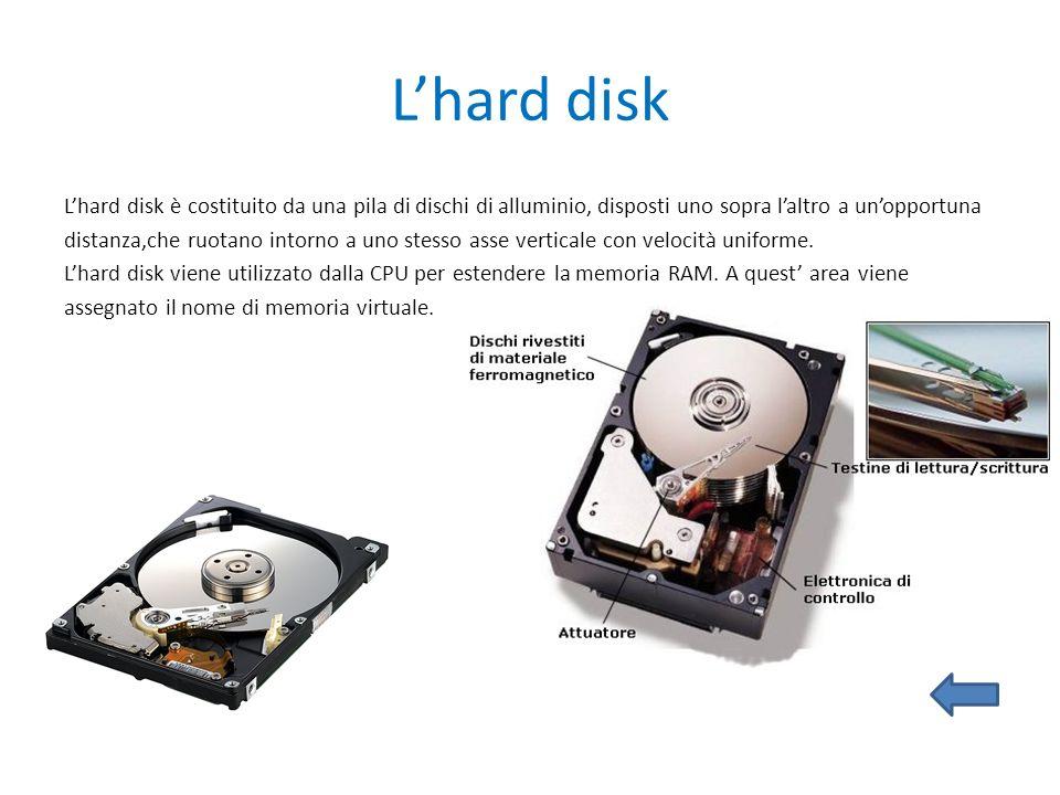 Lhard disk Lhard disk è costituito da una pila di dischi di alluminio, disposti uno sopra laltro a unopportuna distanza,che ruotano intorno a uno stes