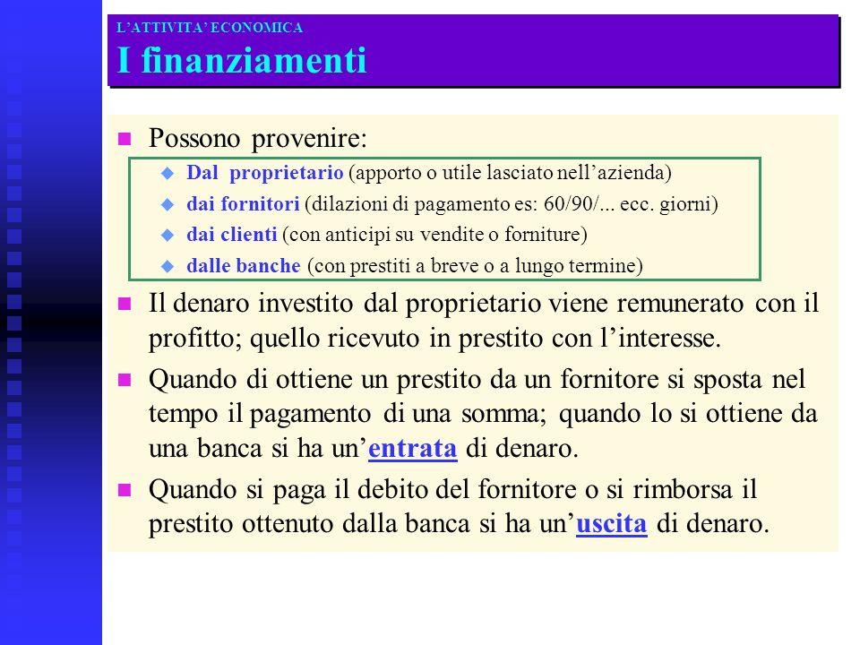 LATTIVITA ECONOMICA I finanziamenti n n Possono provenire: u u Dal proprietario (apporto o utile lasciato nellazienda) u u dai fornitori (dilazioni di pagamento es: 60/90/...