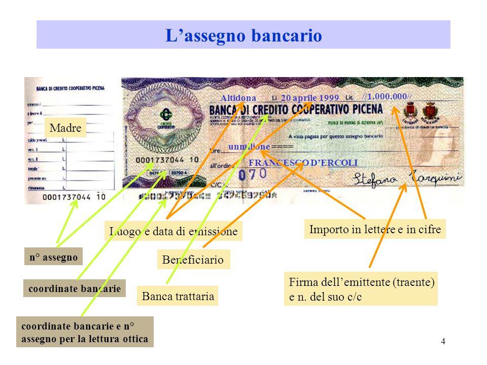 3 Lassegno bancario e circolare Lassegno bancario E simile alla tratta: compaiono tre soggetti: traente (emittente), la banca trattaria, il beneficiar