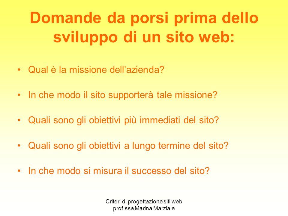 Criteri di progettazione siti web prof.ssa Marina Marziale Domande da porsi prima dello sviluppo di un sito web: Qual è la missione dellazienda? In ch