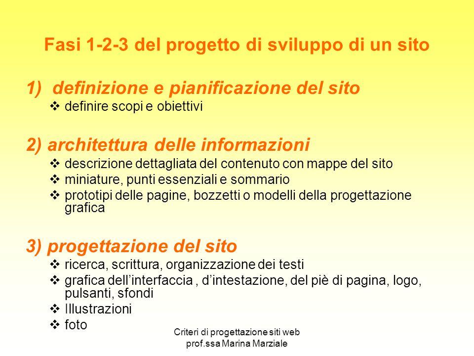 Criteri di progettazione siti web prof.ssa Marina Marziale Fasi 1-2-3 del progetto di sviluppo di un sito 1) definizione e pianificazione del sito def