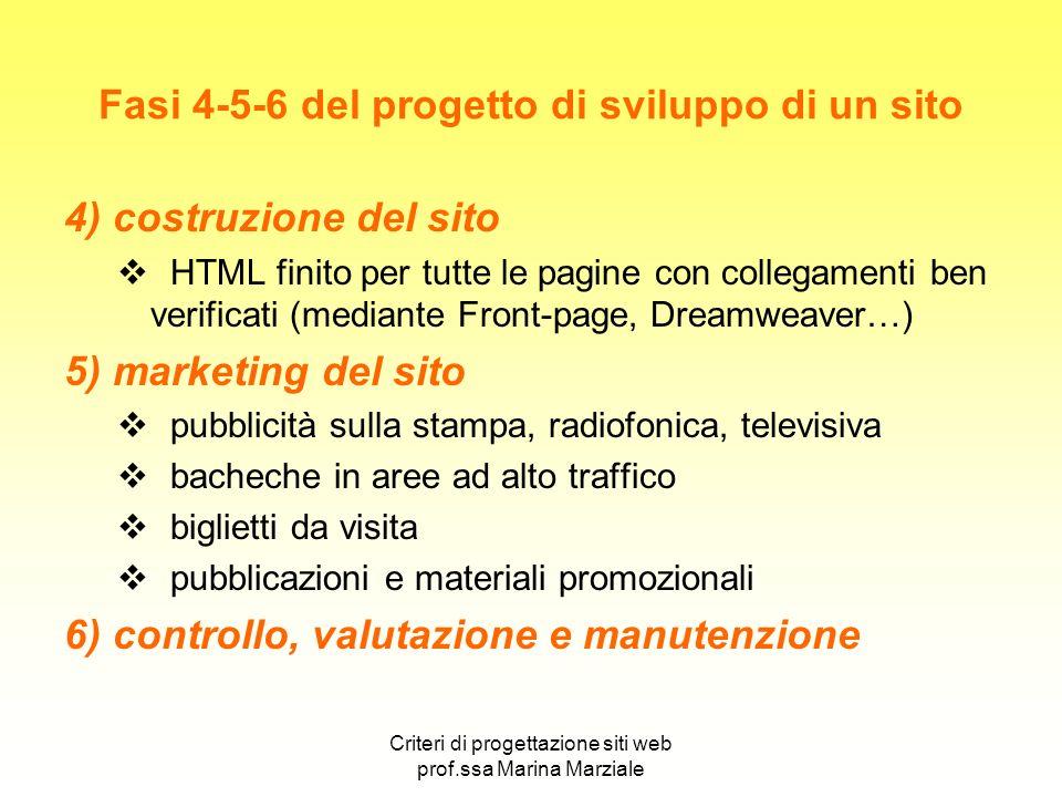 Criteri di progettazione siti web prof.ssa Marina Marziale Fasi 4-5-6 del progetto di sviluppo di un sito 4) costruzione del sito HTML finito per tutt