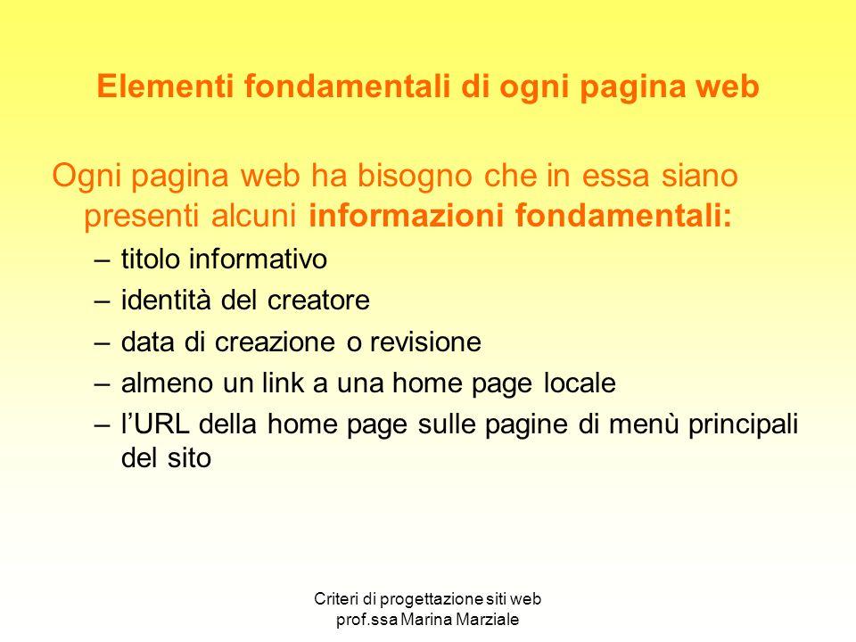 Criteri di progettazione siti web prof.ssa Marina Marziale Elementi fondamentali di ogni pagina web Ogni pagina web ha bisogno che in essa siano prese