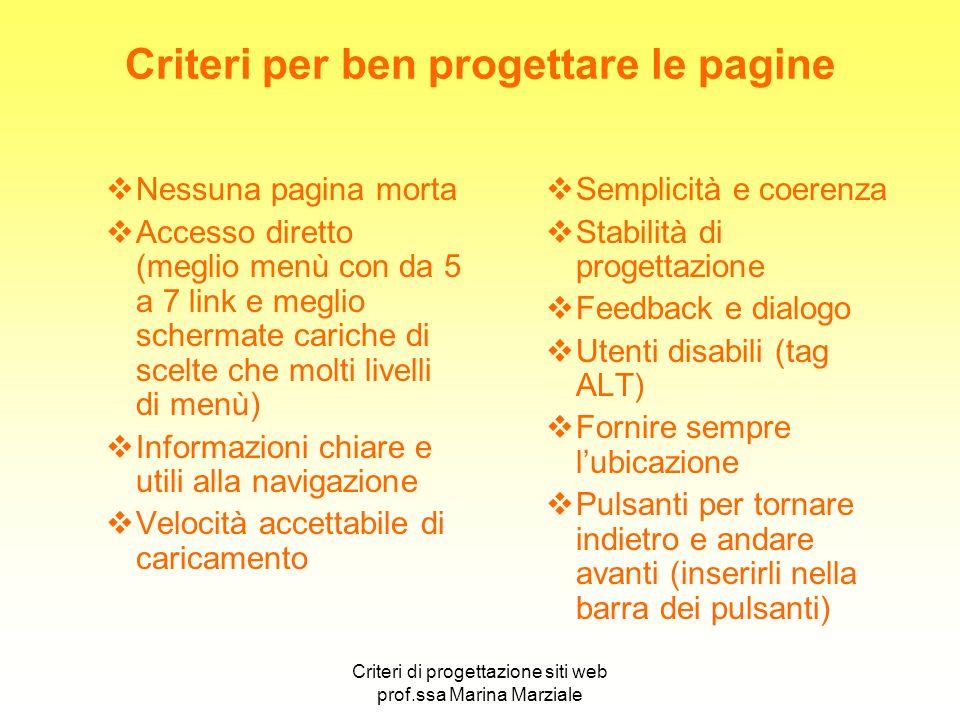 Criteri di progettazione siti web prof.ssa Marina Marziale Criteri per ben progettare le pagine Nessuna pagina morta Accesso diretto (meglio menù con