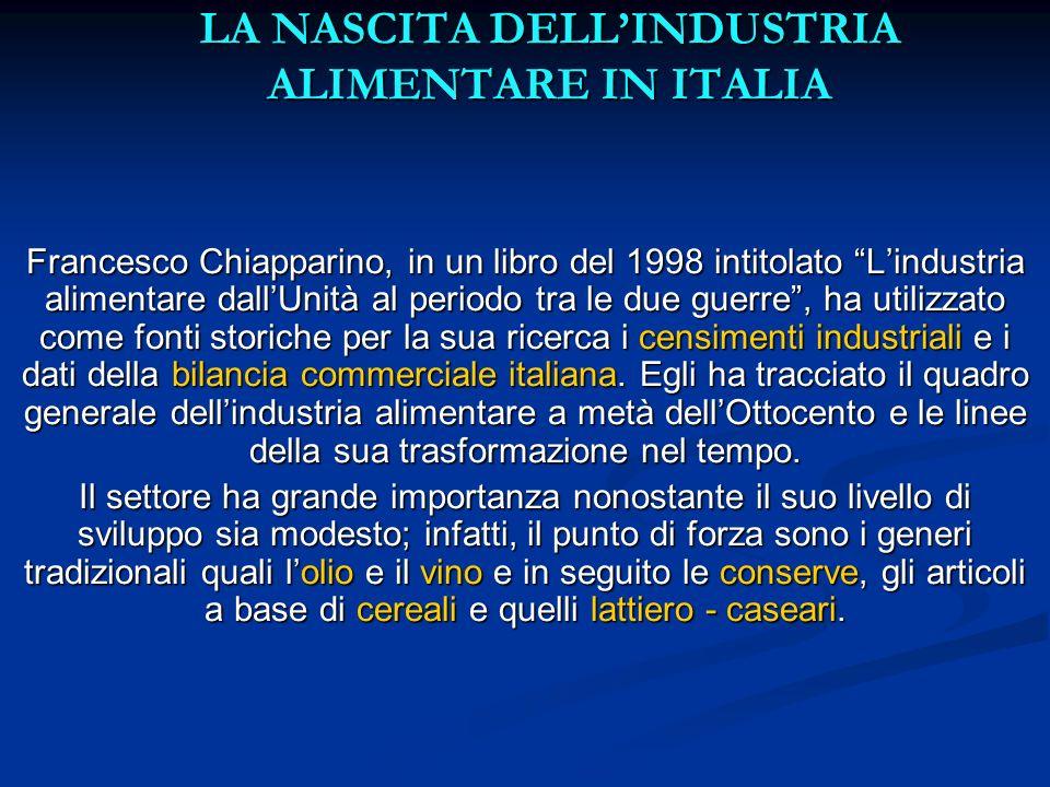 LA NASCITA DELLINDUSTRIA ALIMENTARE IN ITALIA Francesco Chiapparino, in un libro del 1998 intitolato Lindustria alimentare dallUnità al periodo tra le