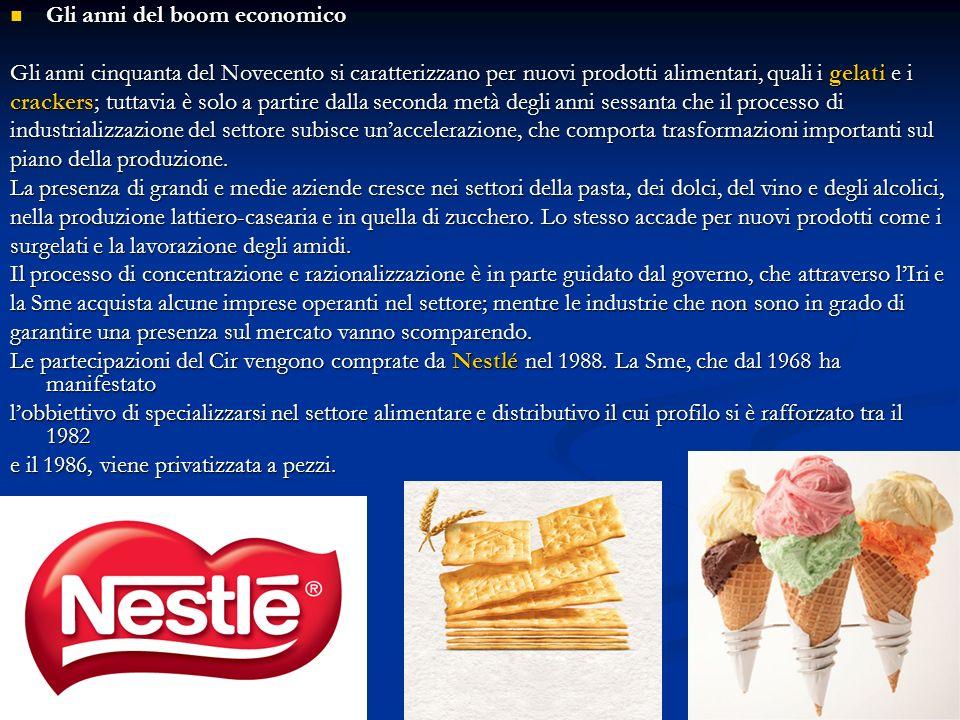 Gli anni del boom economico Gli anni del boom economico Gli anni cinquanta del Novecento si caratterizzano per nuovi prodotti alimentari, quali i gela