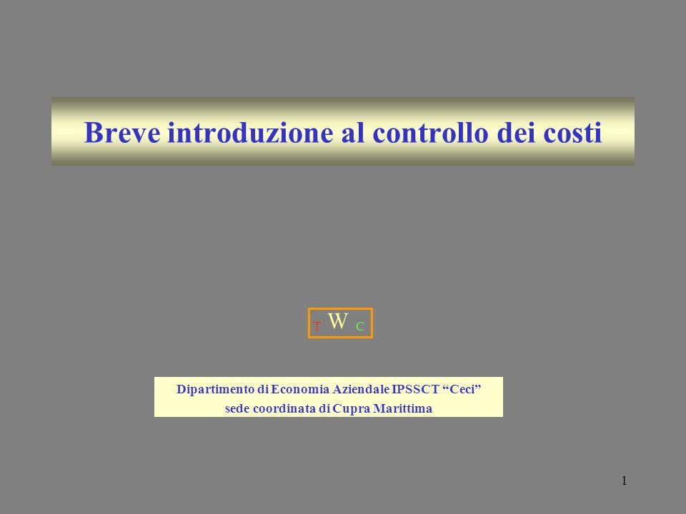 1 Breve introduzione al controllo dei costi Dipartimento di Economia Aziendale IPSSCT Ceci sede coordinata di Cupra Marittima T W C