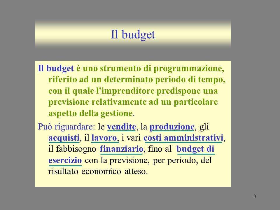 3 Il budget Il budget è uno strumento di programmazione, riferito ad un determinato periodo di tempo, con il quale l'imprenditore predispone una previ
