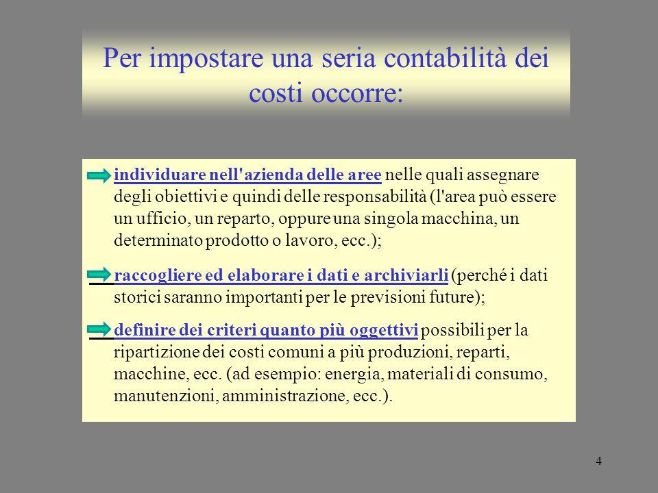 4 Per impostare una seria contabilità dei costi occorre: individuare nell'azienda delle aree nelle quali assegnare degli obiettivi e quindi delle resp