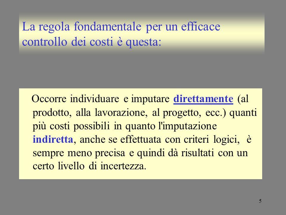 5 La regola fondamentale per un efficace controllo dei costi è questa: Occorre individuare e imputare direttamente (al prodotto, alla lavorazione, al