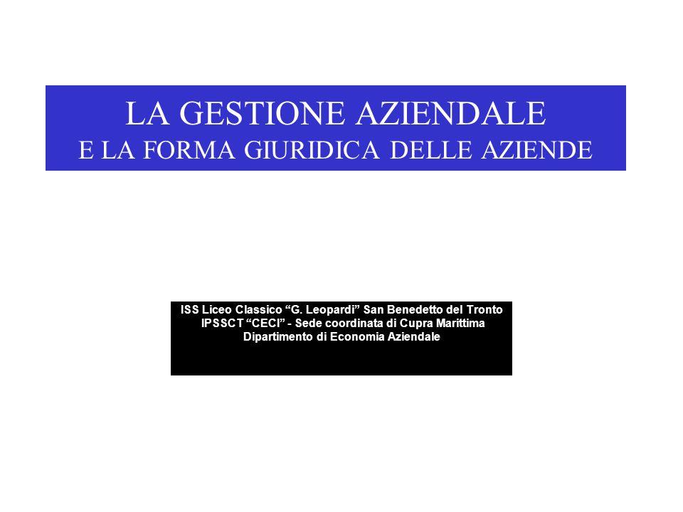 LA GESTIONE AZIENDALE E LA FORMA GIURIDICA DELLE AZIENDE ISS Liceo Classico G.