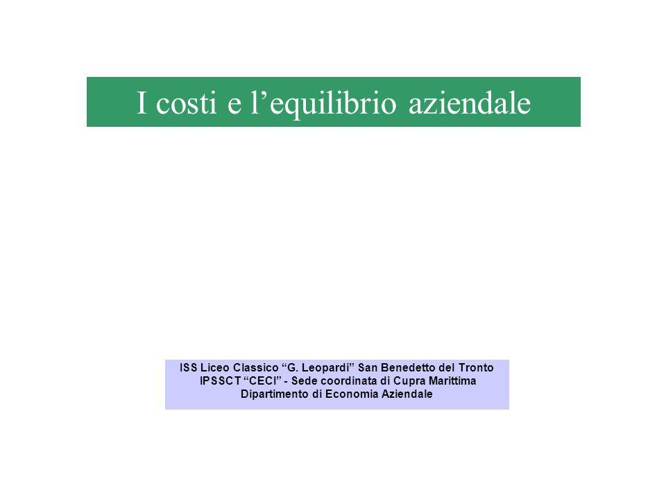 I costi e lequilibrio aziendale ISS Liceo Classico G. Leopardi San Benedetto del Tronto IPSSCT CECI - Sede coordinata di Cupra Marittima Dipartimento