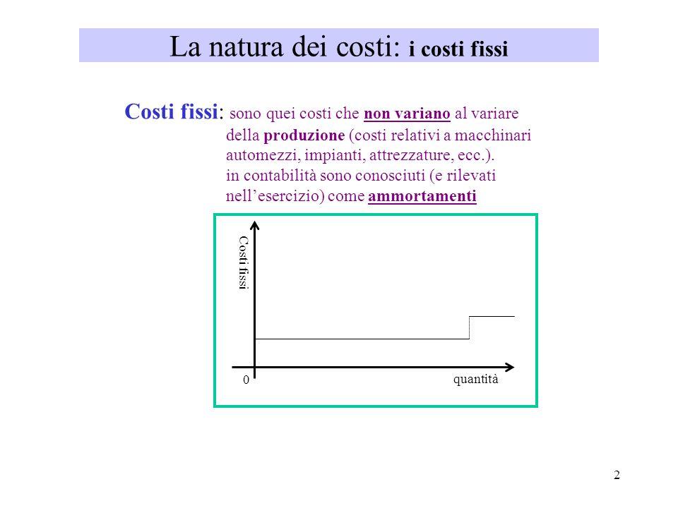 2 La natura dei costi: i costi fissi Costi fissi: sono quei costi che non variano al variare della produzione (costi relativi a macchinari automezzi,