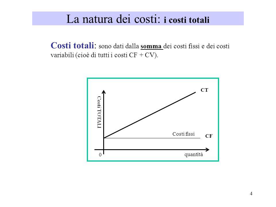 4 La natura dei costi: i costi totali Costi totali: sono dati dalla somma dei costi fissi e dei costi variabili (cioè di tutti i costi CF + CV). Costi