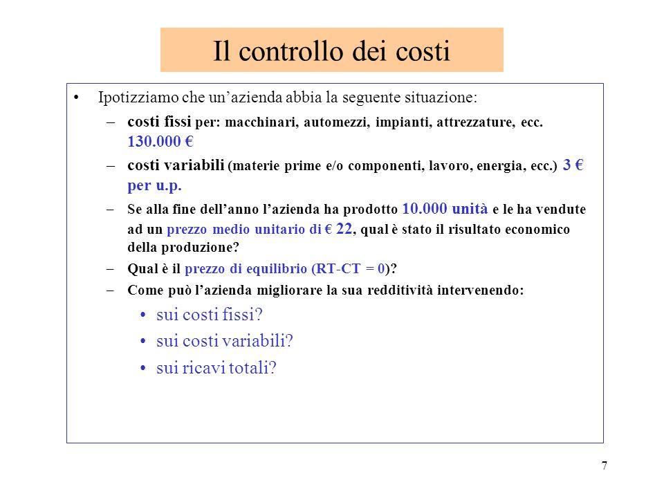 7 Il controllo dei costi Ipotizziamo che unazienda abbia la seguente situazione: –costi fissi per: macchinari, automezzi, impianti, attrezzature, ecc.