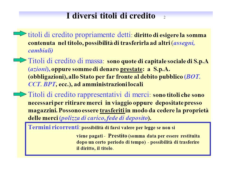 I titoli di credito Sono dei documenti che rappresentano un diritto e hanno la forza, data dalla legge di farlo valere nel caso in cui il debitore non