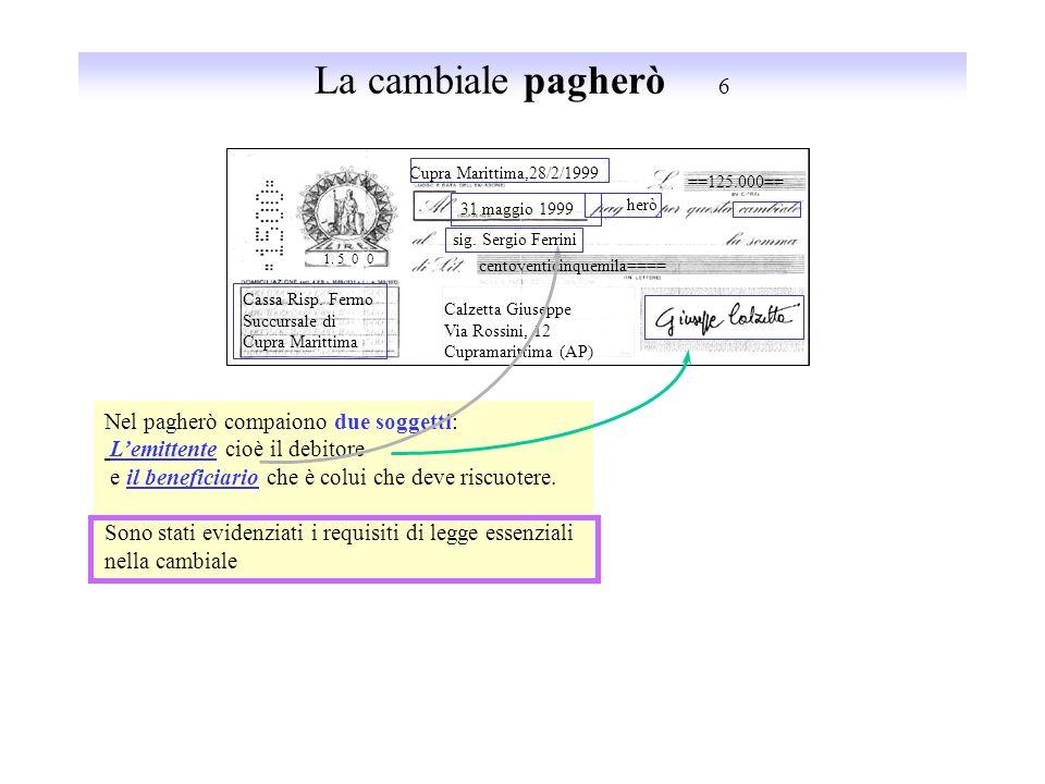 Vantaggi e svantaggi delle cambiali 5 12 per mille 30 giugno 1999 VANTAGGI: Per il debitore: di avere subito la merce e di pagarla dopo un certo perio