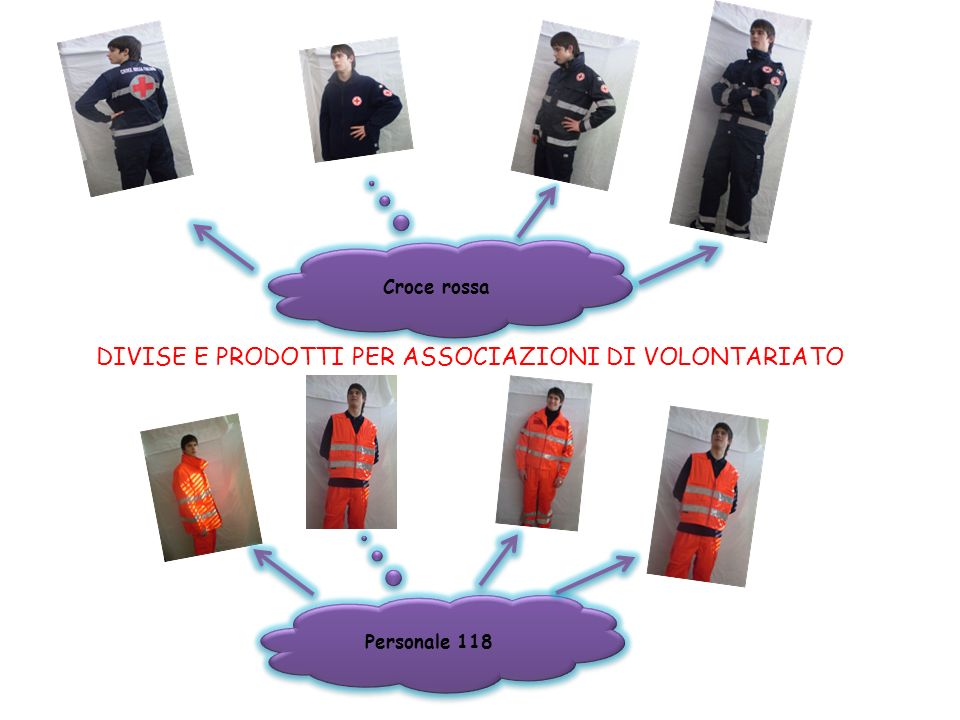 DIVISE E PRODOTTI PER ASSOCIAZIONI DI VOLONTARIATO Croce rossa Personale 118