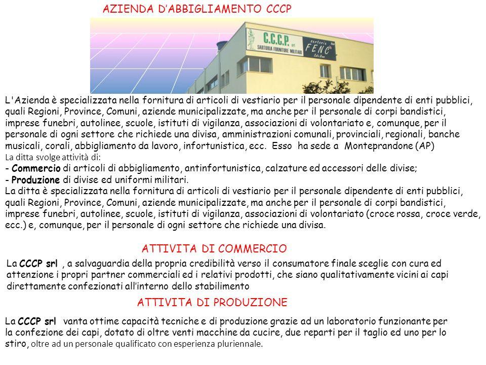 AZIENDA DABBIGLIAMENTO CCCP L'Azienda è specializzata nella fornitura di articoli di vestiario per il personale dipendente di enti pubblici, quali Reg