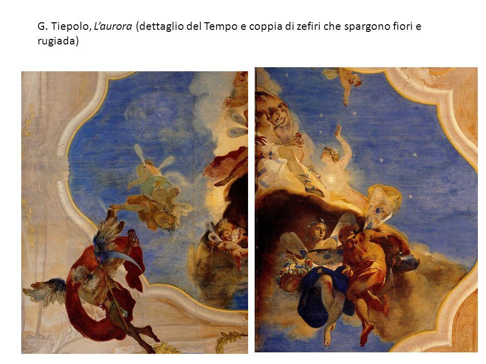G. Tiepolo, Laurora (dettaglio del Tempo e coppia di zefiri che spargono fiori e rugiada)