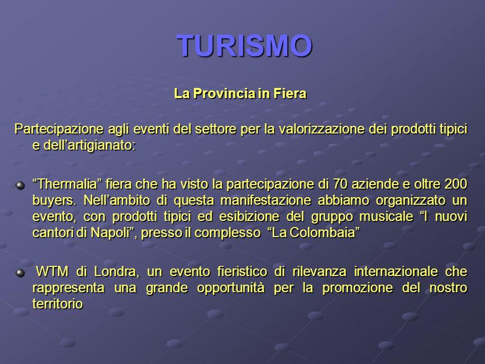 TURISMO La Provincia in Fiera Partecipazione agli eventi del settore per la valorizzazione dei prodotti tipici e dellartigianato: Thermalia fiera che ha visto la partecipazione di 70 aziende e oltre 200 buyers.