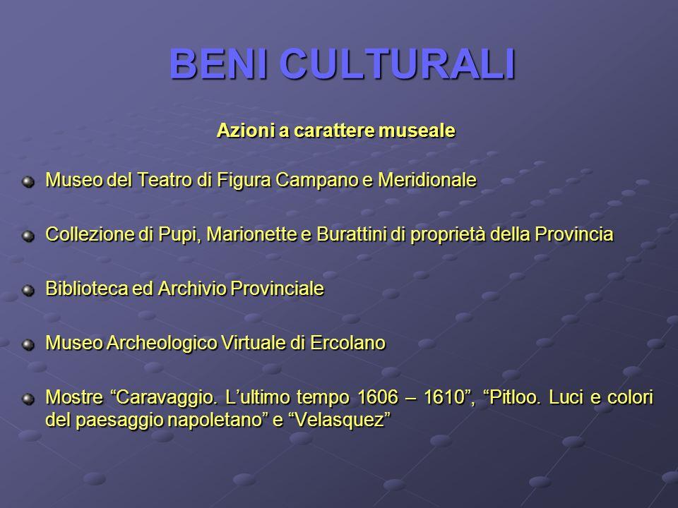 BENI CULTURALI Azioni a carattere museale Museo del Teatro di Figura Campano e Meridionale Collezione di Pupi, Marionette e Burattini di proprietà del