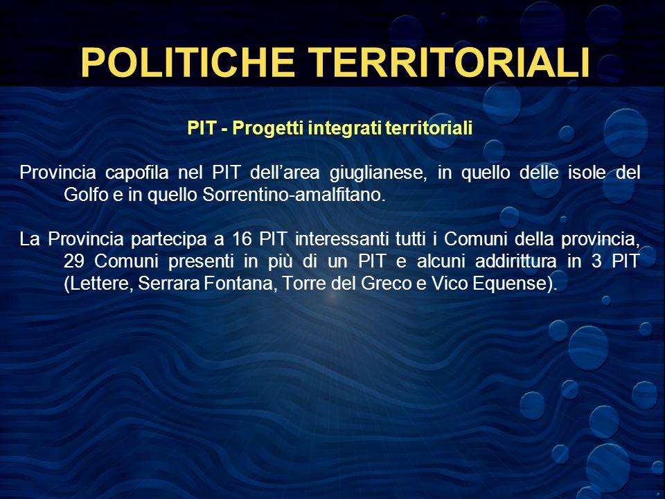 POLITICHE TERRITORIALI PIT - Progetti integrati territoriali Provincia capofila nel PIT dellarea giuglianese, in quello delle isole del Golfo e in quello Sorrentino-amalfitano.