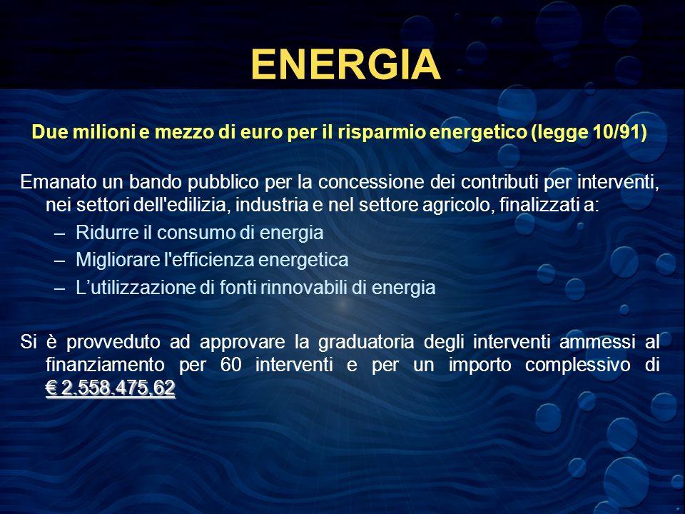 ENERGIA Due milioni e mezzo di euro per il risparmio energetico (legge 10/91) Emanato un bando pubblico per la concessione dei contributi per interventi, nei settori dell edilizia, industria e nel settore agricolo, finalizzati a: –Ridurre il consumo di energia –Migliorare l efficienza energetica –Lutilizzazione di fonti rinnovabili di energia 2.558.475,62 Si è provveduto ad approvare la graduatoria degli interventi ammessi al finanziamento per 60 interventi e per un importo complessivo di 2.558.475,62