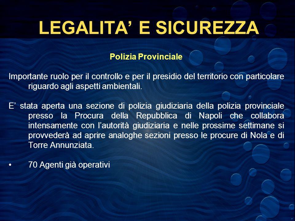 LEGALITA E SICUREZZA Polizia Provinciale Importante ruolo per il controllo e per il presidio del territorio con particolare riguardo agli aspetti ambientali.