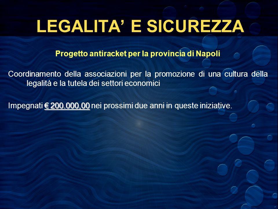 LEGALITA E SICUREZZA Progetto antiracket per la provincia di Napoli Coordinamento della associazioni per la promozione di una cultura della legalità e la tutela dei settori economici 200.000,00 Impegnati 200.000,00 nei prossimi due anni in queste iniziative.