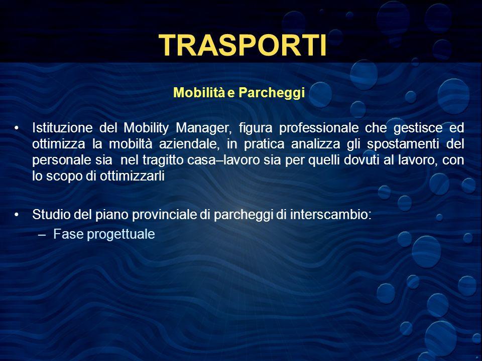 TRASPORTI Mobilità e Parcheggi Istituzione del Mobility Manager, figura professionale che gestisce ed ottimizza la mobiltà aziendale, in pratica anali