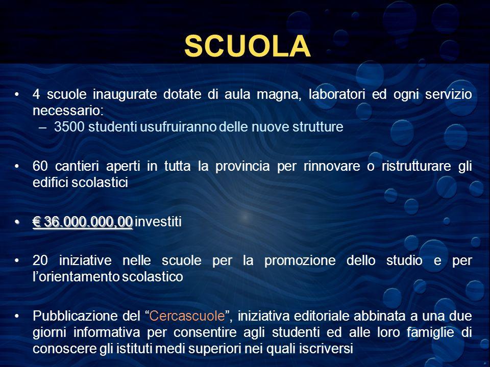 SCUOLA 4 scuole inaugurate dotate di aula magna, laboratori ed ogni servizio necessario: –3500 studenti usufruiranno delle nuove strutture 60 cantieri