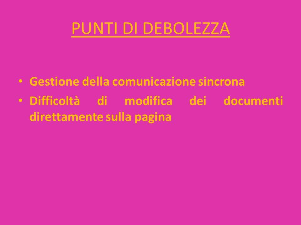 PUNTI DI DEBOLEZZA Gestione della comunicazione sincrona Difficoltà di modifica dei documenti direttamente sulla pagina