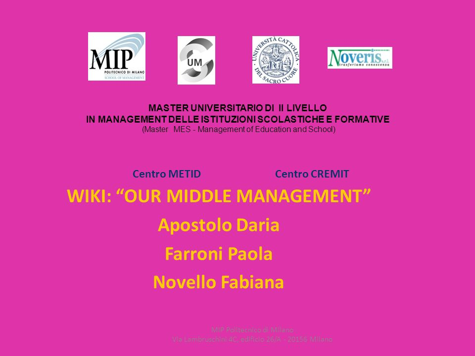 MASTER UNIVERSITARIO DI II LIVELLO IN MANAGEMENT DELLE ISTITUZIONI SCOLASTICHE E FORMATIVE (Master MES - Management of Education and School) MIP Politecnico di Milano Via Lambruschini 4C, edificio 26/A - 20156 Milano Centro METIDCentro CREMIT