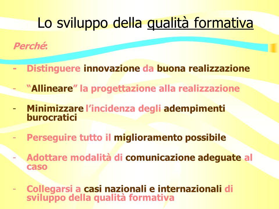 Lo sviluppo della qualità formativa Perché: - Distinguere innovazione da buona realizzazione -Allineare la progettazione alla realizzazione -Minimizzare lincidenza degli adempimenti burocratici -Perseguire tutto il miglioramento possibile -Adottare modalità di comunicazione adeguate al caso -Collegarsi a casi nazionali e internazionali di sviluppo della qualità formativa
