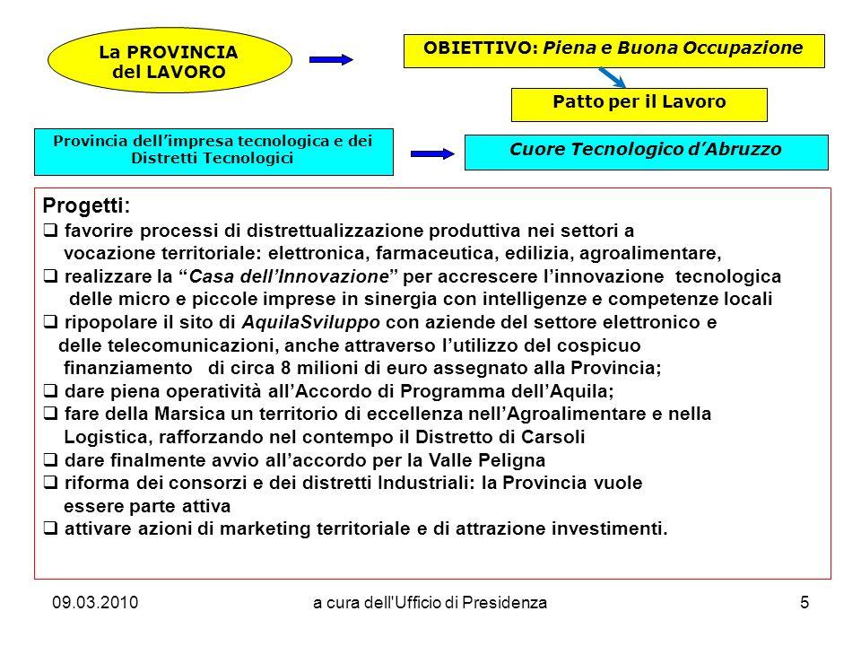 09.03.2010a cura dell Ufficio di Presidenza16 La Provincia costituirà unimportante antenna a servizio del territorio per acquisire e diffondere informazioni inerenti lEuropa.