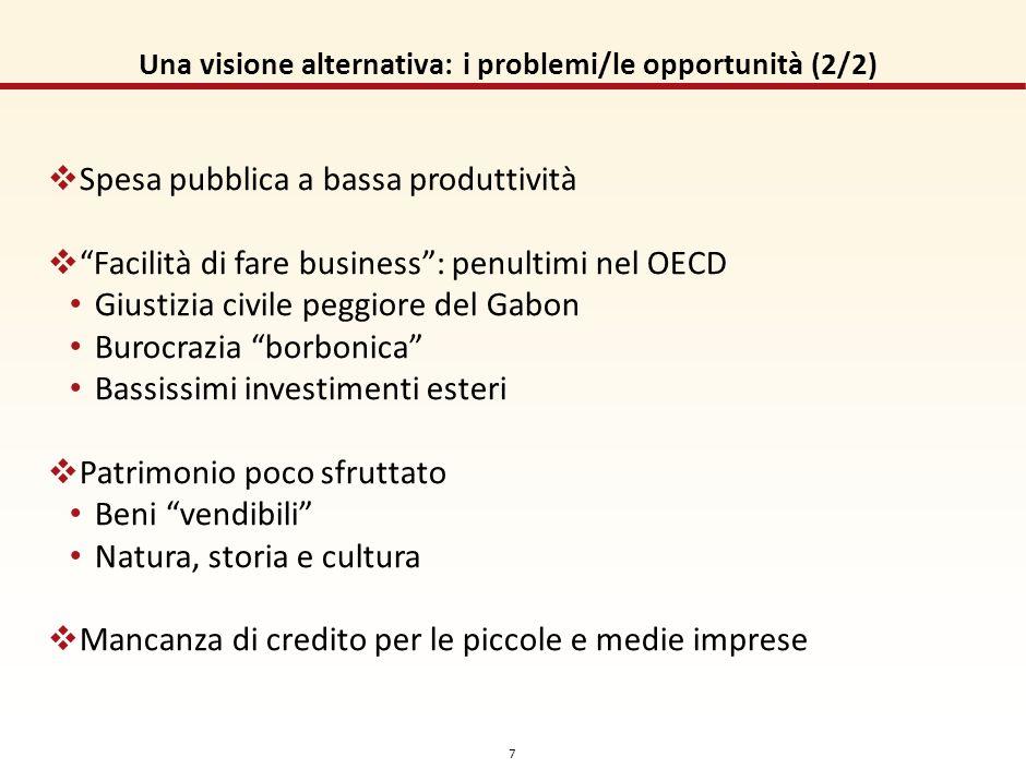 6 Una visione alternativa: i problemi/le opportunità (1/2) Iniquità crescente: Fiscale Accesso/distribuzione dei servizi Evasione fiscale, crescente e