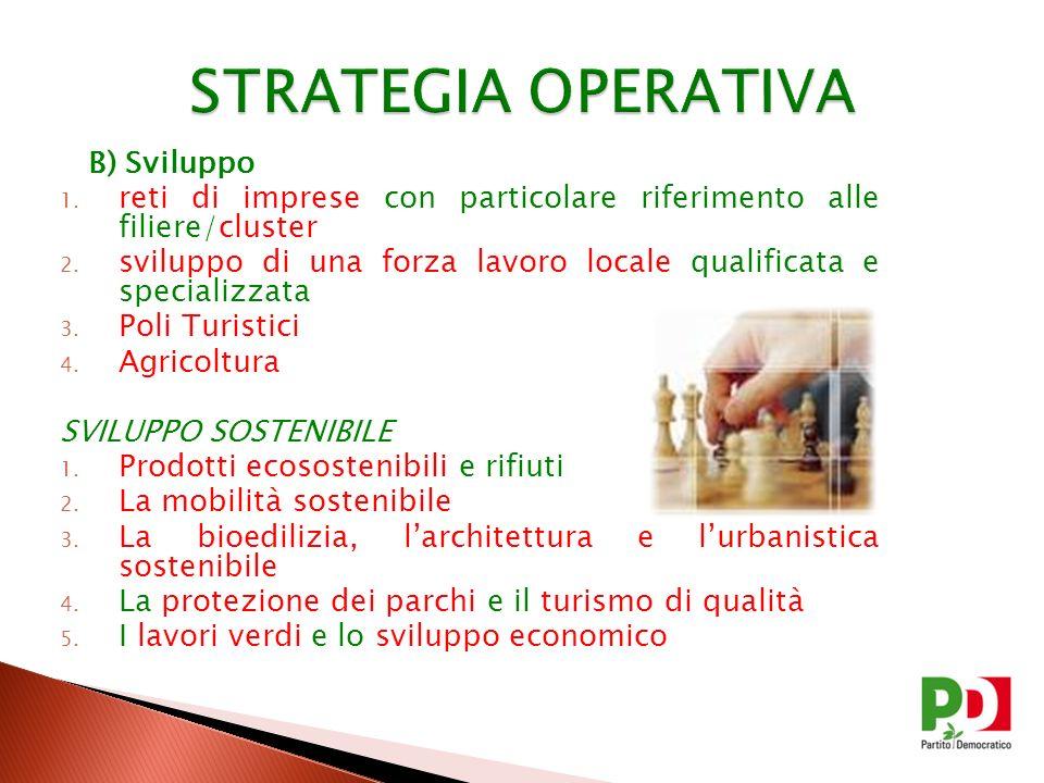 B) Sviluppo 1. reti di imprese con particolare riferimento alle filiere/cluster 2. sviluppo di una forza lavoro locale qualificata e specializzata 3.