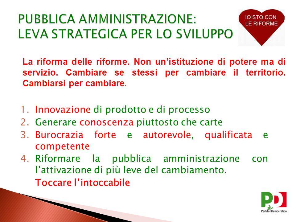 1.Innovazione di prodotto e di processo 2.Generare conoscenza piuttosto che carte 3.Burocrazia forte e autorevole, qualificata e competente 4.Riformar