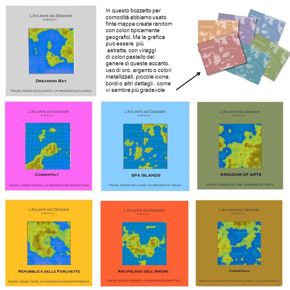 In questo bozzetto per comodità abbiamo usato finte mappe create random con colori tipicamente geografici. Ma la grafica può essere più astratta, con