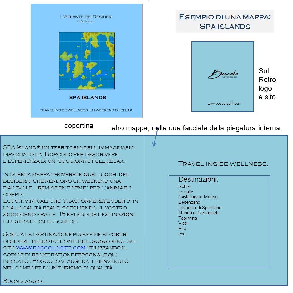 Esempio di una mappa: Spa islands retro mappa, nelle due facciate della piegatura interna copertina Sul Retro logo e sito wwwboscologift.com SPA Islan