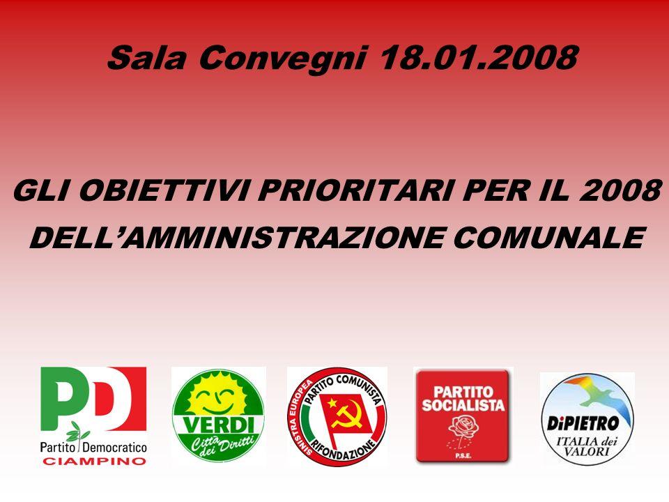 GLI OBIETTIVI PRIORITARI PER IL 2008 DELLAMMINISTRAZIONE COMUNALE Sala Convegni 18.01.2008