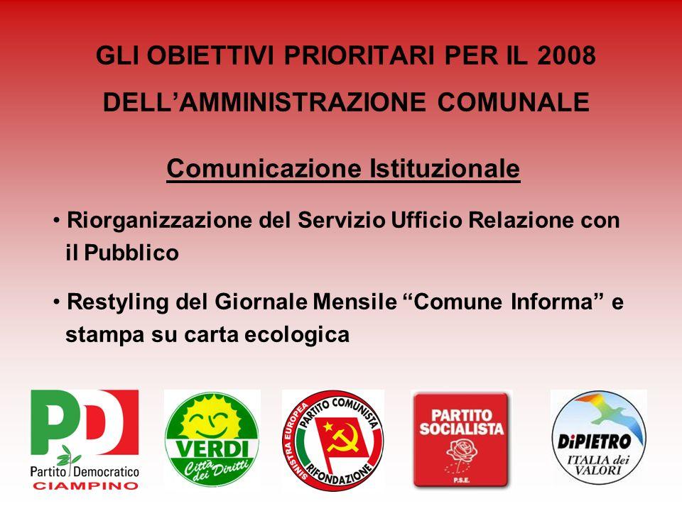 GLI OBIETTIVI PRIORITARI PER IL 2008 DELLAMMINISTRAZIONE COMUNALE Comunicazione Istituzionale Riorganizzazione del Servizio Ufficio Relazione con il P