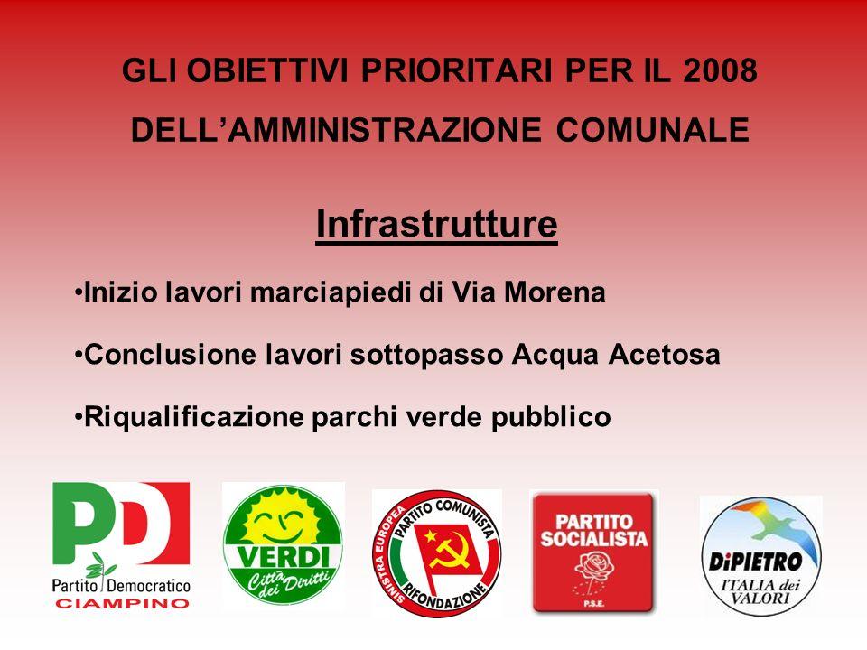 GLI OBIETTIVI PRIORITARI PER IL 2008 DELLAMMINISTRAZIONE COMUNALE Infrastrutture Inizio lavori marciapiedi di Via Morena Conclusione lavori sottopasso
