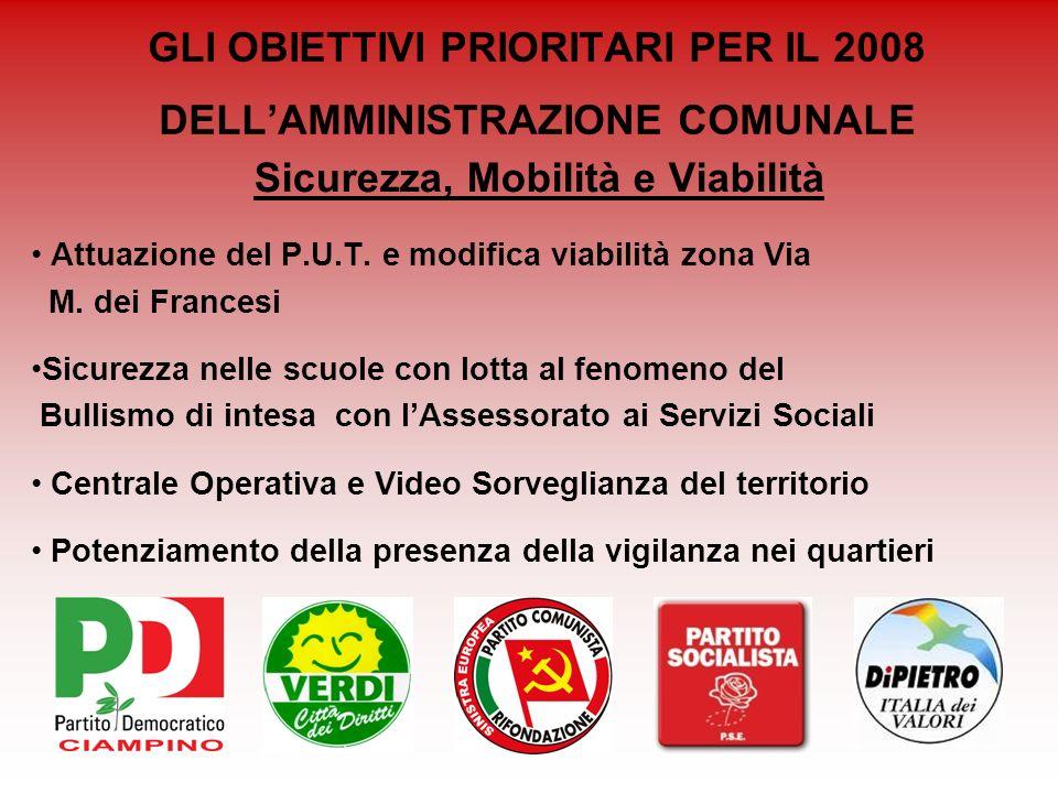 GLI OBIETTIVI PRIORITARI PER IL 2008 DELLAMMINISTRAZIONE COMUNALE Sicurezza, Mobilità e Viabilità Attuazione del P.U.T. e modifica viabilità zona Via