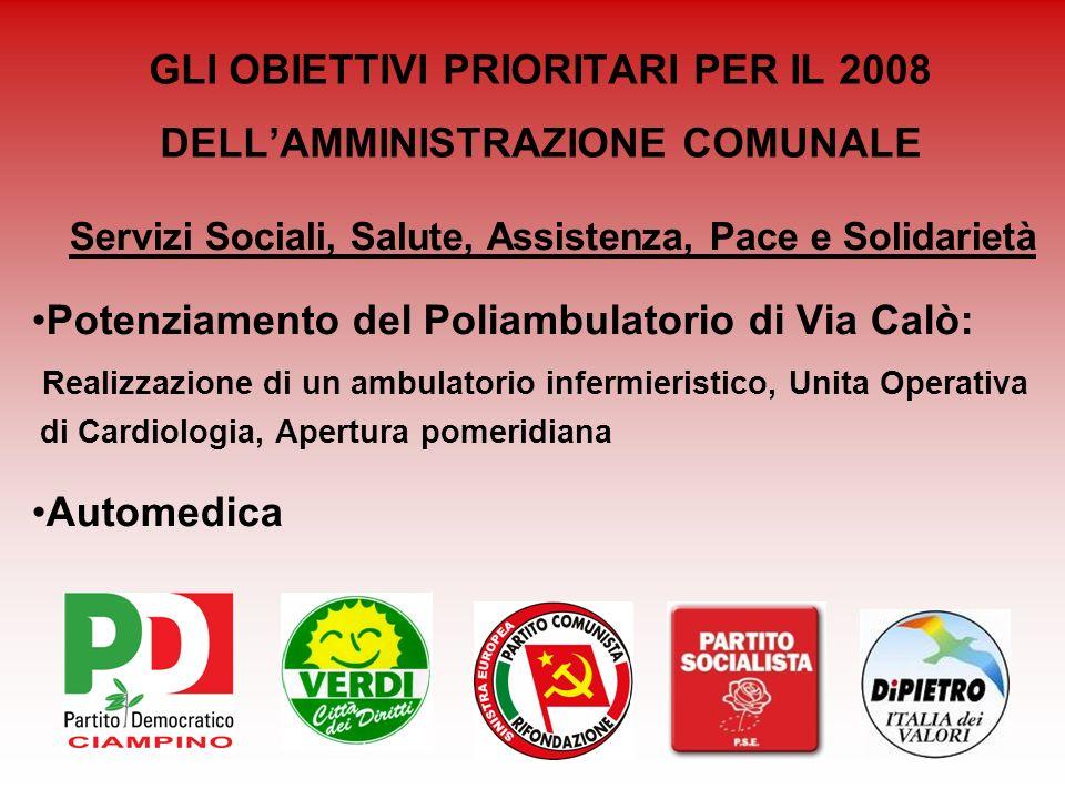 GLI OBIETTIVI PRIORITARI PER IL 2008 DELLAMMINISTRAZIONE COMUNALE Servizi Sociali, Salute, Assistenza, Pace e Solidarietà Potenziamento del Poliambula