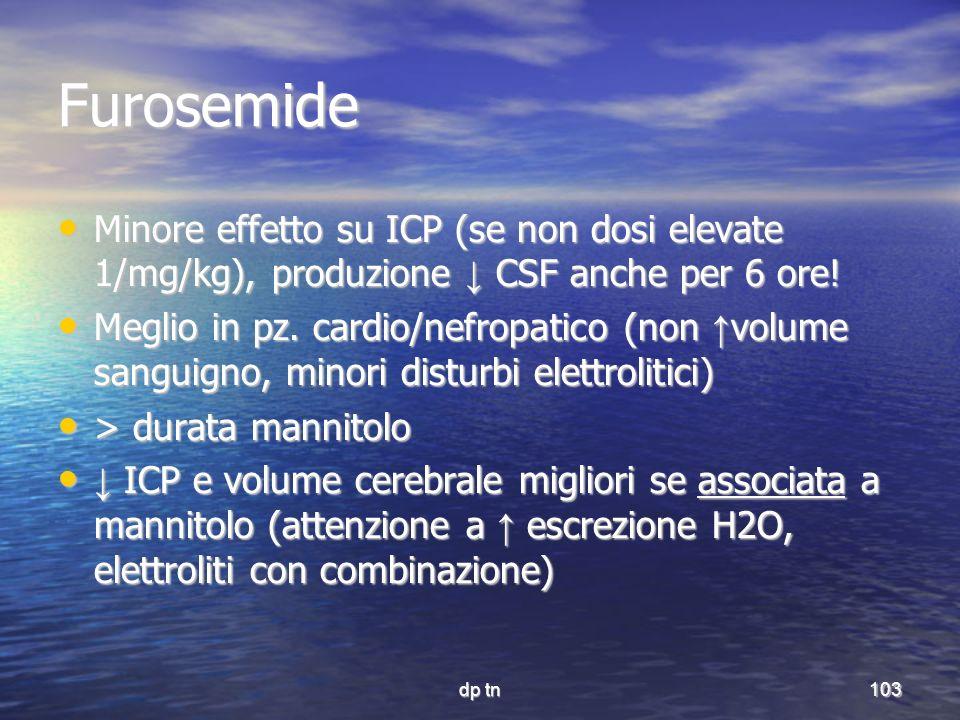 dp tn103 Furosemide Minore effetto su ICP (se non dosi elevate 1/mg/kg), produzione CSF anche per 6 ore! Minore effetto su ICP (se non dosi elevate 1/