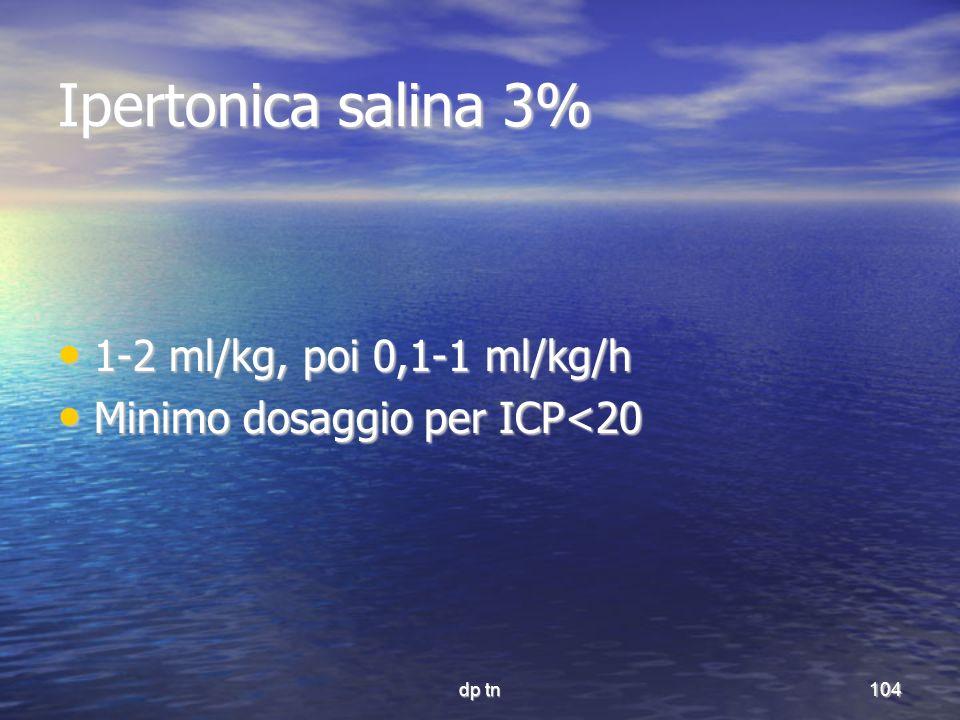 dp tn104 Ipertonica salina 3% 1-2 ml/kg, poi 0,1-1 ml/kg/h 1-2 ml/kg, poi 0,1-1 ml/kg/h Minimo dosaggio per ICP<20 Minimo dosaggio per ICP<20