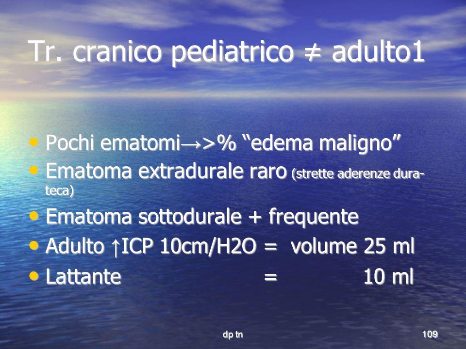 dp tn109 Tr. cranico pediatrico adulto1 Pochi ematomi >% edema maligno Pochi ematomi >% edema maligno Ematoma extradurale raro (strette aderenze dura-